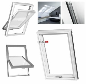 Dachfenster RoofLITE® SOLID PVC Schwingfenster PVC-Profile Kunstoff Uw= 1,3 W/m²K Thermo 2-Fach-Verglasung Profile in Weiß Neue Generation des DUR -Fenstermodells VKR-Gruppe (VELUX, Altaterra) Boden-Griff