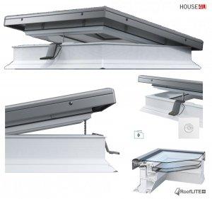 ROOFLITE Elektrisches Flachdach-Fenster ROOFLITE FRE B600 Flachglassegment mit Regensensor, Weiß PVC-Rahmen, ohne kuppel, Qualitätsproduktion der VKR-Gruppe, 5°-15° Grad, W Urc =0.87, RAL 7043, VELUX io-homecontrol® Kompatibilität, inkl.Funk-Wandschalt<br />er