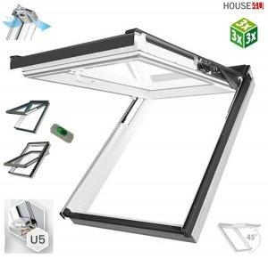 Dachfenster Fakro PPP-V U5 3-fach preSelect MAX Klapp-Schwingfenster Kunststofffenster PVC, Uw=0,97 W/m²K , der Flügel um 45° geneigt, Zwei getrennte Flügelöffnungsfunk<br />tionen