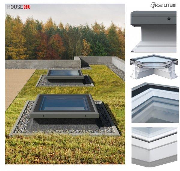 ROOFLITE Flachdach-Fenster FRF B600, Festelement mit Flachglas Segment, Weiß PVC-Rahmen, Tageslicht für flache Dächer ohne kuppel, Qualitätsproduktion der VKR-Gruppe wie VELUX