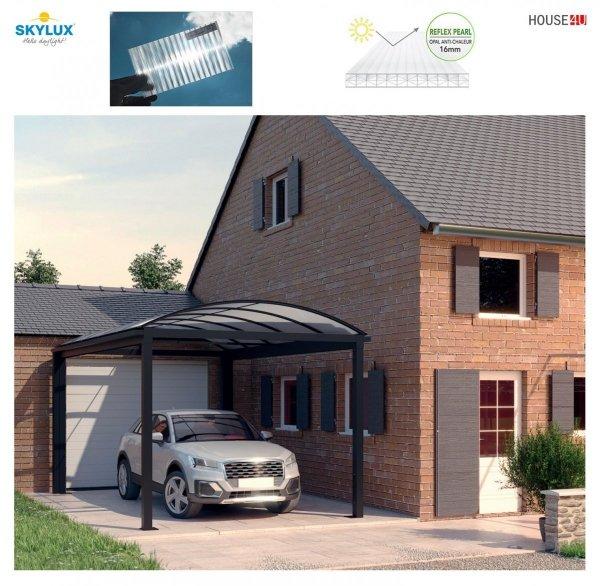 ClimaCar Carport  Struktur, tabiler, freistehender SKYLUX Carport mit Bogendach Nur 4 Stützpfosten, Grau 7016