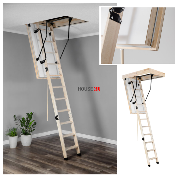 OUTLET: Bodentreppe OMAN POLAR 130x60 X280 U=0,36 Energiesparende Treppe aus Holz