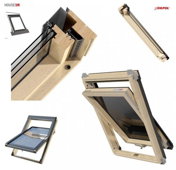 Dachfenster OKPOL ISO I22 Energiesparende Verglasung Uw=1,06 3-Scheiben Schwingfenster aus Holz klar lackiert  Ug=0,7 Energiesparende - mit Dauerlüftung