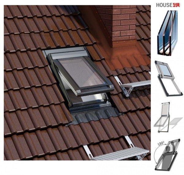 Dachluken Okpol IGWX+ N22 PVC für Nutzräume 3-fach Verglasung Uw=0,86 Flap - High-Heel-Luke, Energiesparend Dachausstiegsfenster aus Kunststoff SOLID+ PVC