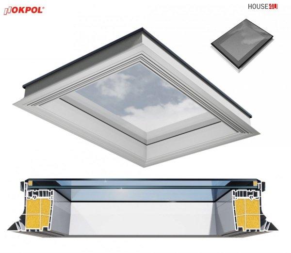 OUTLET: FlachdachFlachdach-Fenster OKPOL PGX A1 PVC Festverglastes Uw=1,1 W/m²K/ Flachverglasung , Innenscheibe aus Verbundglas, Tageslicht für flache Dächer ohne kuppel Versand 48H