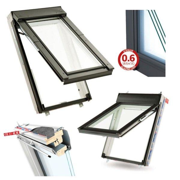 Dachfenster Keylite Polar Klapp-Schwingfenster FT FE KTG Uw=1,0 Krypton Triple Glass weiß Holz 3-Fach Verglasung Fluchtwegsfenster 0 – 45 ̊ offen,