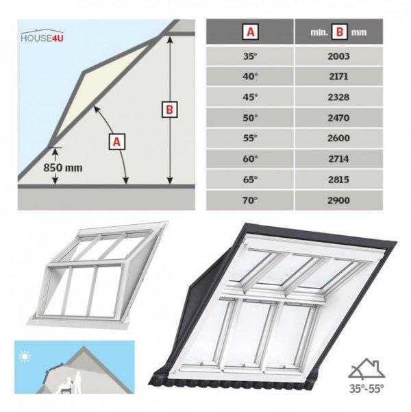 VELUX EBW 2032BK MK06 Kombi-Eindeckrahmen für gaubenähnliche Lösungen Aluminium VELUX Lichtlösung PANORAMA  Basiselement + GGU/GPU ESG VSG THERMO-Variante