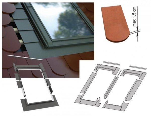 Kombi-Eindeckrahmen-Set Okpol KX2LH für hohe Biberschwanzeindeckungen www.house-4u.eu