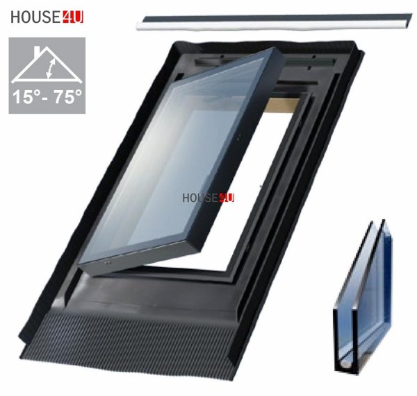 Ausstiegsfenster WVR V6 47x73 cm für unbeheizte Räume, nach seitlich öffnend (links oder rechts) mit integrated EPDM RESET Eindeckrahmen RAL 7022
