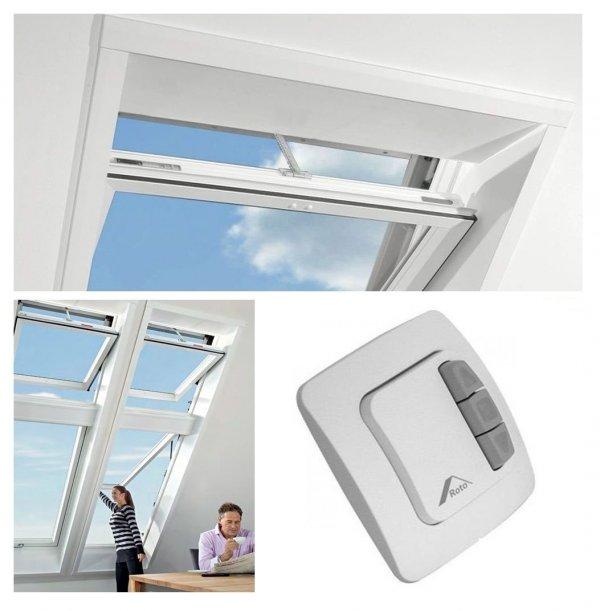 Dachfenster-Set Roto Designo R45 K RotoTronic Kunststoffmit Schalter ZEL und Eindeckrahmen ZIE www.house-4u.eu