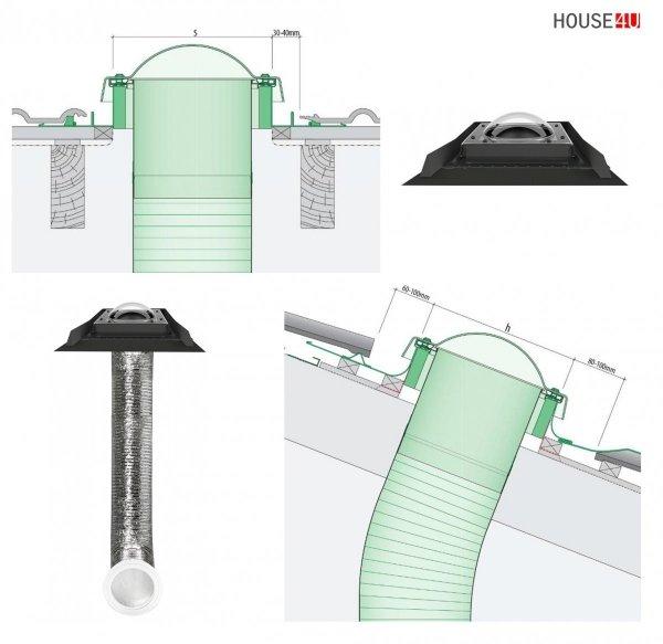 Tageslicht-Spot FAKRO SFD-L 350 550 mit flexiblem Rohr für flache Schichtstücke