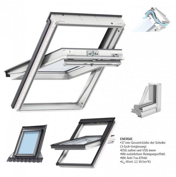 VELUX Dachfenster Kombi-Pakete GGU SD0J4 3-fach Verglasung 68 Uw=1,1, ENERGIE 3-fach Schwingfenster GGU 0068 + Eindeckrahmen EDJ 2000 mit Thermische Isolationsset