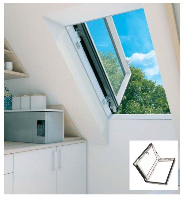 Ausstiegsfenster Fakro PWP U5 PVC  Kunststoff, weiß, Wohndachausstieg energiesparende Isolierverglasung U3 dachfenster 3-fach Verglasung Uw= W/m2K Dachausstieg mit Türfunktion Dachausstiegsfenster - Dachausstieg - Dachluke - Dachfenster