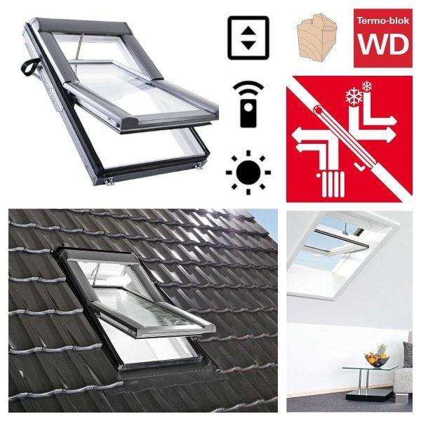Dachfenster Roto R69G H2E (WDT R69G E_ H WD AL) Blue tec Uw=1,0 Schwingfenster aus Holz mit Wärmedämmblock 3-fach Verglasung Energiesperende gehärtetes und laminiertes Glas