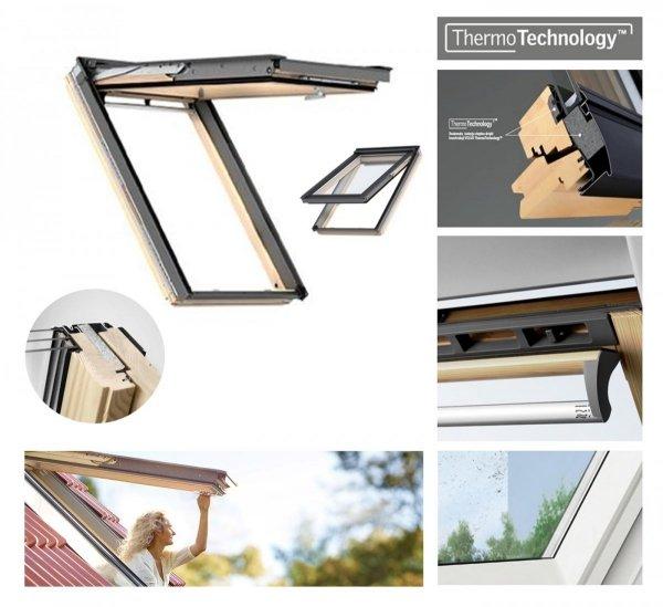 Dachfenster VELUX Klapp-Schwingfenster GPL 3068 ENERGIE 3-fach-Verglasung Uw-Wert 1,1 ENERGIE Holz klar lackiert mit Untenbedienung