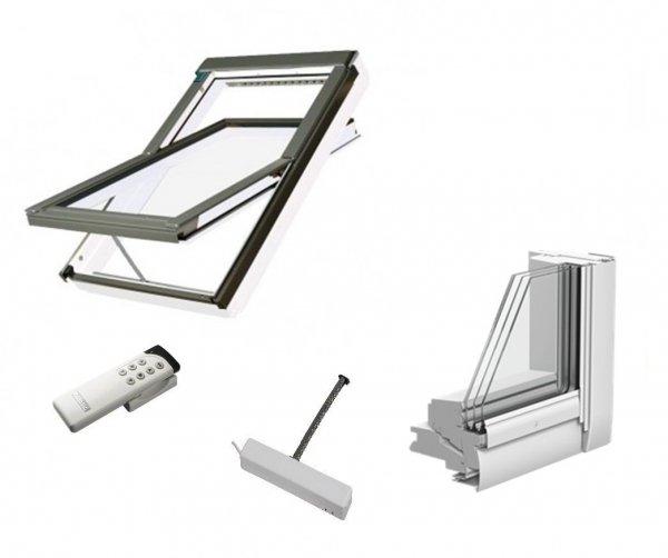 Dachfenster Fakro FTU-V Z-Wave U5 Schwingfenster Holz weiß lackiert wie Kunstoff