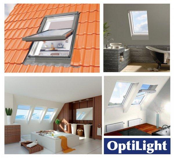 Dachfenster OPTILIGHT TLP Kunststofffenster Schwingfenster Wohndachfenster THERMO mit 2-fach Verglasung Uw=1,3 W/m²K. PVC Profile in Weiß PVC mit Untenbedienung