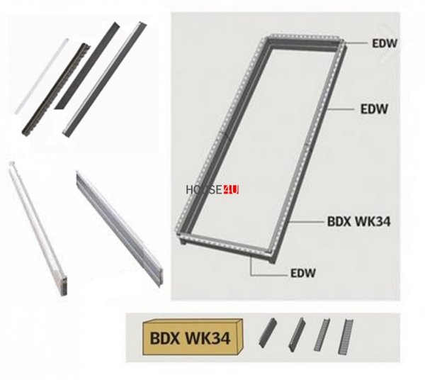 Thermische Isolationsset Set Velux BDX WK34 2000/2001 Für Kombi-Dachfenster GIU/GIL