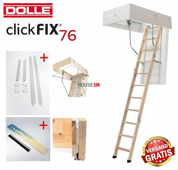 OUTLET: Bodentreppe Dolle ClickFIX 76 70x140 GOLD U= 0,49 Super-thermoisolierte  Click-fix 3-teilig mit Handlauf Versand 48H