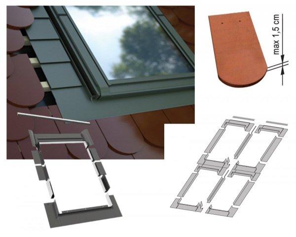 Kombi-Eindeckrahmen-Set Okpol KZ4LH für hohe Biberschwanzeindeckungen www.house-4u.eu