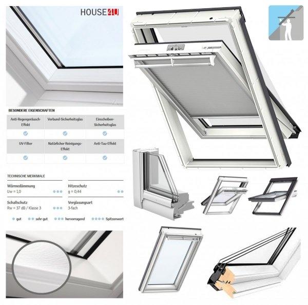 VELUX Dachfenster GGL 2066 Schwingfenster Holz/Kiefer weiß lackiert ENERGIE PLUS Uw= 1,1 Fenster Holz weiß lackiert, Lüftungsklappe und Luftfilter
