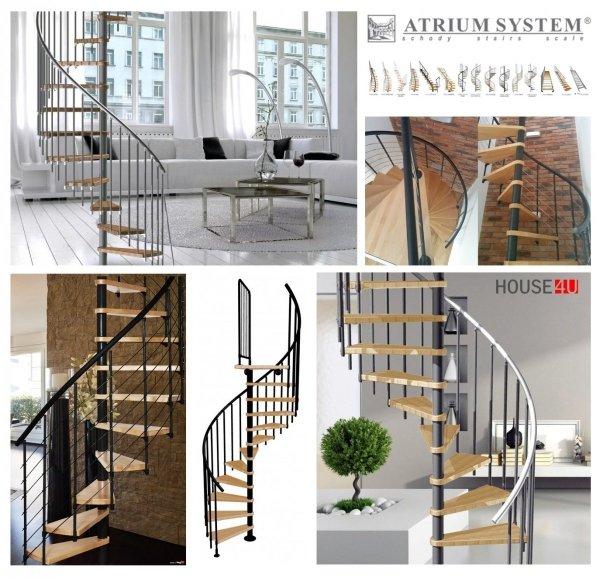 Spindeltreppe Atrium Novo Ø120 Schwarz 11 stufen Buche natur + Plattform
