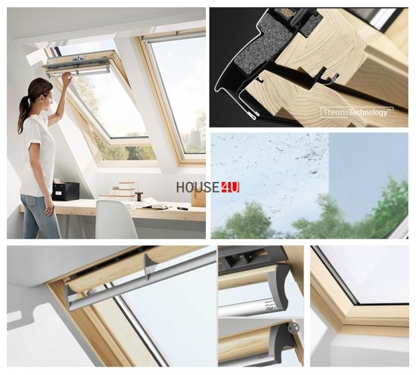 VELUX Dachfenster Schwingfenster GGL 3070 aus Holz mit natürlichem Reinigungseffekt www.house-4u.eu
