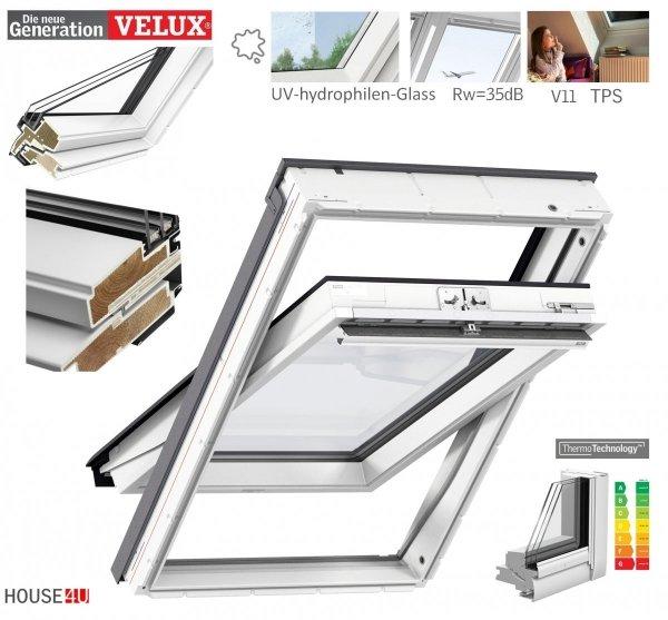 VELUX Dachfenster GLU 0064 3-fach-Verglasung Uw=1,0 Rw=35dB Schwingfenster Kunststoffqualität ThermoTechnology STANDARD PLUS neue Generation 2021