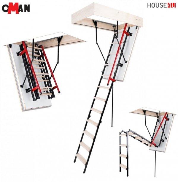 Bodentreppen OMAN MAXI PLUS ZeroGravity Handlaufsystem, Super-thermoisolierte Uw=0,7 energiesparende, Treppe Comfort, Dachbodentreppe mit Metallleiter