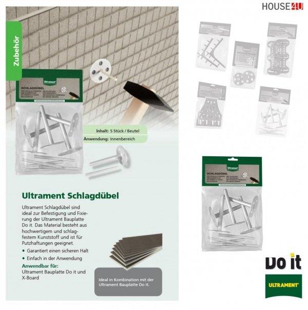 Schlagdübel Ultrament Do-it Zur schnellen Verbindung und Fixierung der Bauplatte - Rohrkästen, X-Board, Bauplatte Flexplatte Qboard Fliesenbauplatte