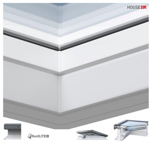 Elektrisches Flachdach-Fenster ROOFLITE FRF B600 Flachglassegment mit Regensensor elektrisch, FlachGlass, ohne kuppel, PVC-Rahmen, Automatisch zu öffnende