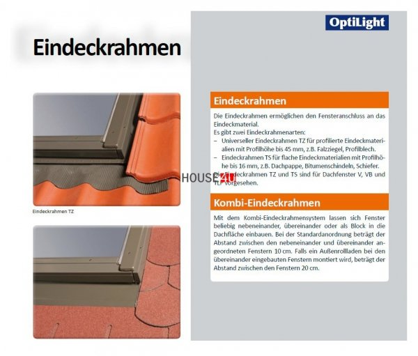 Dachfenster Schwingfenster Optilight B aus Holz, Zubehör der Firma Fakro kompatibel www.house-4u.eu