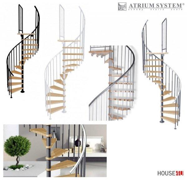 Spindeltreppe Atrium Novo Ø160 Weißaluminium 11 stufen Buche natur + Plattform
