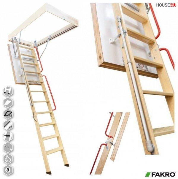 Bodentreppe FAKRO LWL EXTRA Mehrteilige Bodentreppe aus Holz, energiesparende U=0,74 Wm2K Super-thermoisolierte, zwei Handlaufsystem, Gasdruckfeder, bis 280 / 305 cm, 3-teilig, Neues Modell / Bessere Isolation www.house-4u.de