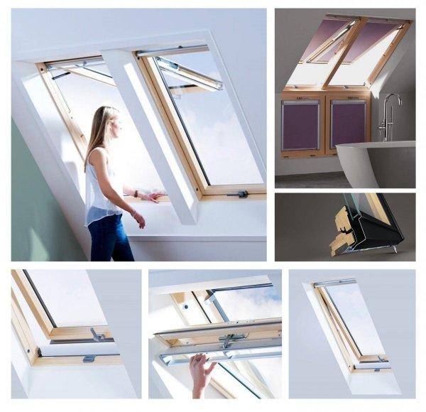 Dachfenster Keylite FT FE Kiefernholz Klapp-Schwingfenster aus Holz mit Wärmedämmblock Uw=1,3