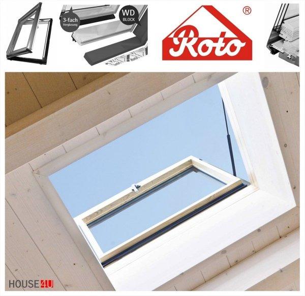 Wohndachausstieg Roto R39 H2D_ (WDA R39 H WD) 3fach Verglasung Uw-Wert: 1,1 Ausstiegsfenster Comfort*, mit Wärmedämmblock, Dachfenster mit Standardmaß in Holz für beheizte Dachräume, Öffnung nach rechts oder links, Dachausstieg