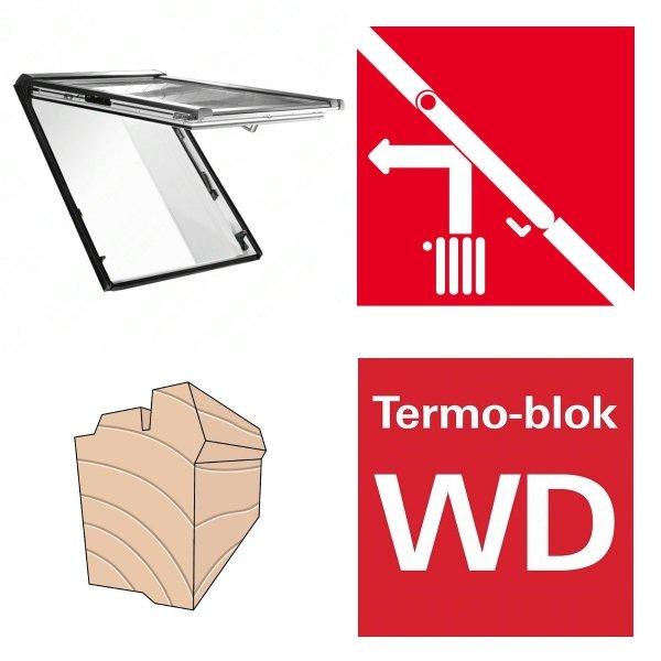 Dachfenster Roto R88C H200 (WDF R88C H WD AL) Holzfenster Designo R8 Klapp-Schwingfenster aus Holz mit Wärmedämmblock, 2-fach Comfort Uw=1,1 alternative für R85 Verbundsicherheitsglas innen VSG, 2-fach-Verglasung BlueLine Comfort nächste Generation von R8