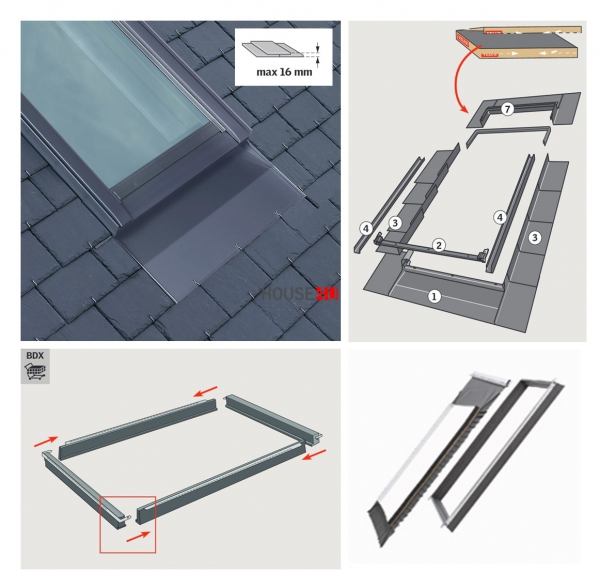 Eindeckrahmen Velux EDN 0000 Schiefer Schichtstück für vertieften Einbau www.house-4u.eu