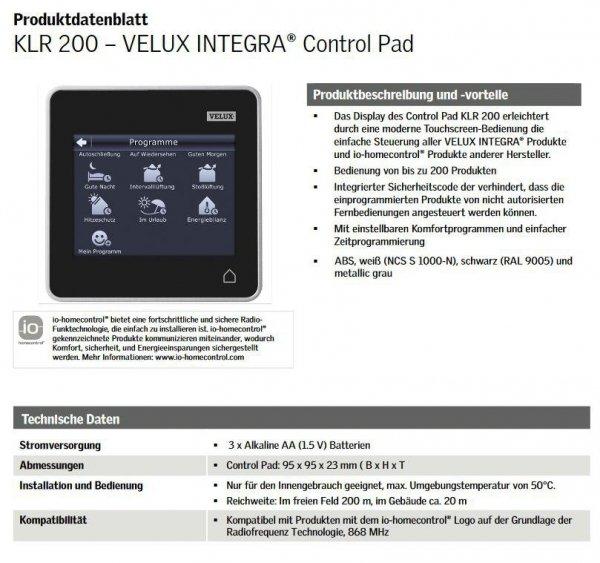 VELUX INTEGRA® Control Pad KLR 200 system io-homecontrol® - Produkten
