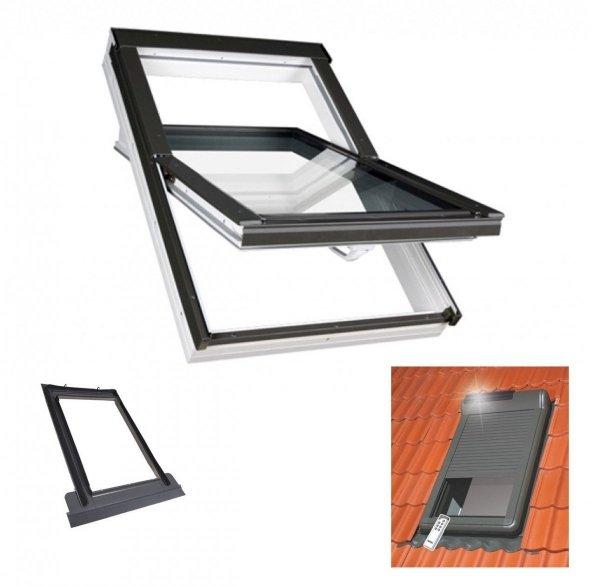 Dachfenster FAKRO PTP U3 Schwingfenster Kunstofffenster + EZV + ARZ SOLAR Außenrollladen