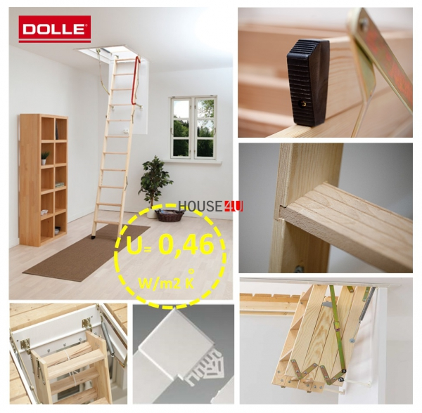 DOLLE CLICKFIX® 76 U = 0,49 W/m2 K ̊  Super-thermoisolierte Bodentreppen www.house-4u.eu