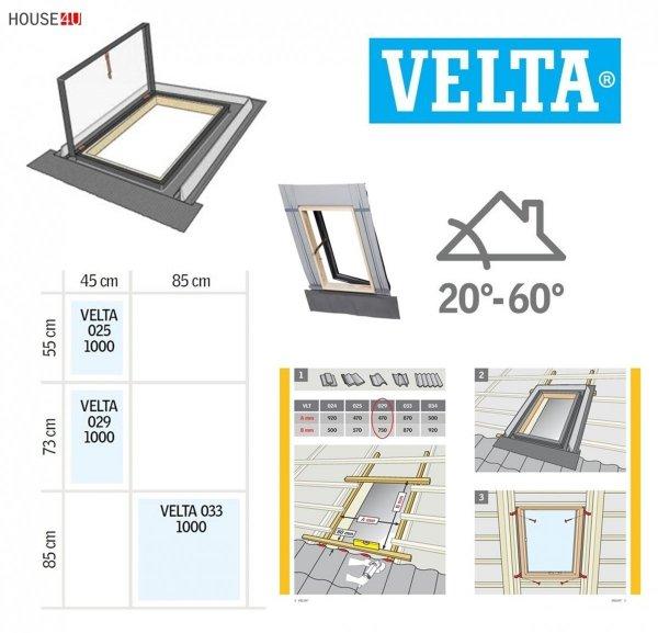 Ausstiegsfenster VELUX VELTA VLT 033 85x85, Dachluke links und rechts, Skylight für unbeheizte Räume, Dachausstiegsfenster,  Drehfenster, Skylight für unbeheizte Räume,  Kaltraumfenster, Eindeckrahmen integriert mit Ausgangsfenster  1_ house-4u.de