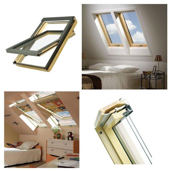 OUTLET: Dachfenster Fakro FTP-V U5 + EZV-P 114x140  Schwingfenster aus Holz 3-fach-Verglasung, Energiesparende Holzfenster Uw=0,98, topSafe-System, Energiespar-Schwingfenster, Scheiben ESG außen, TGI, wartungsfrei mit Eindeckrahmen