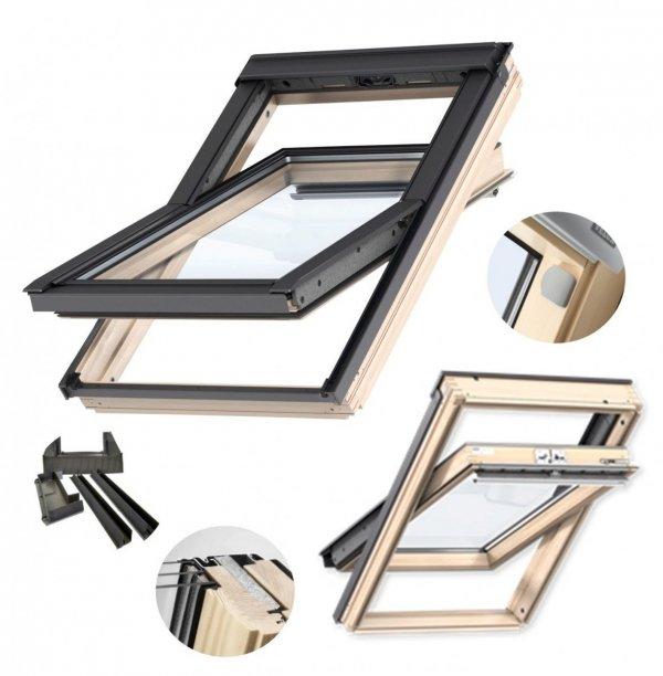 Velux Schwingfenster GLL 1061 3-fach-Verglasung Holz + EDZ + VELUX INTEGRA® Elektro-Nachrüst-Set www.house-4u.eu