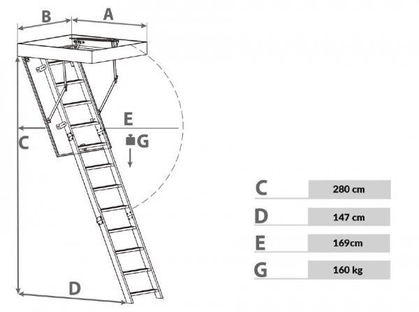 Bodentreppen OMAN POLAR PLUS Super-thermoisolierte Uw=0,36 energiesparende, ZeroGravity Handlaufsystem, Treppe Comfort, , Dachbodentreppe mit Metallleiter, Gold Isolationsparamete