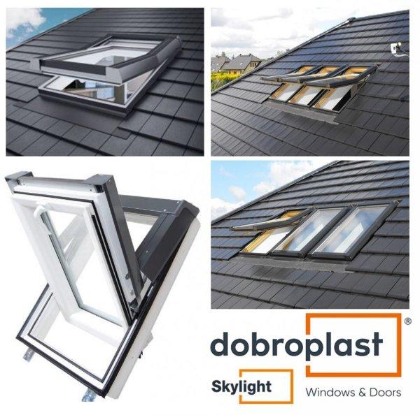 Dachfenster DOBROPLAST PCV SkyLight PREMIUM PVC Profile in der Masse nach RAL 8001 gefärbt, mit Furnier Eiche Gold Uw= 1,4 Schwingfenster Kunststoff - Profil PVC Weiß incl. Eindeckrahmen Dachschwingfenster  2-fach Verglasung