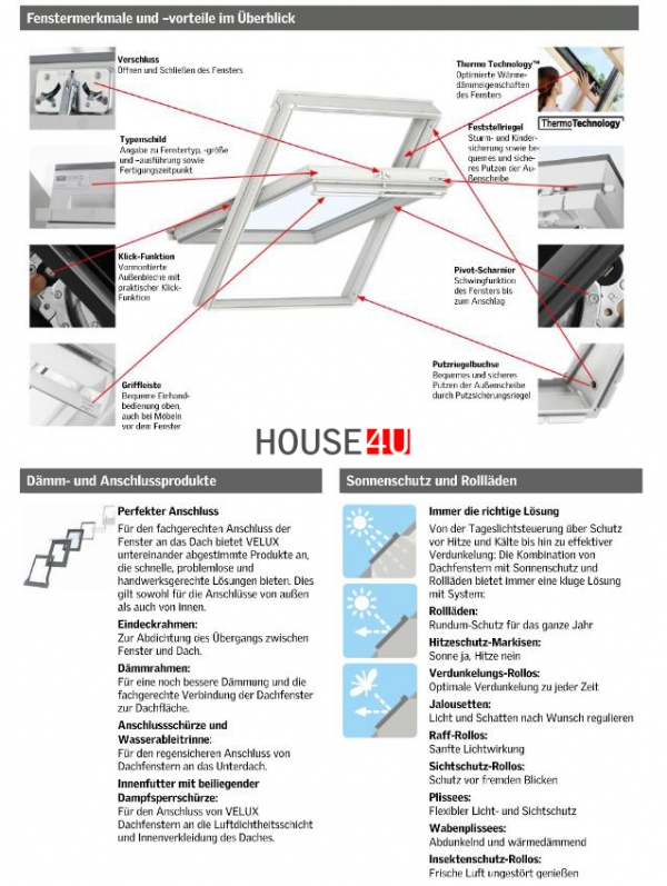 VELUX Dachfenster Solarfenster INTEGRA ® Kunststoff GGU 006630 ENERGIE PLUS www.house-4u.eu