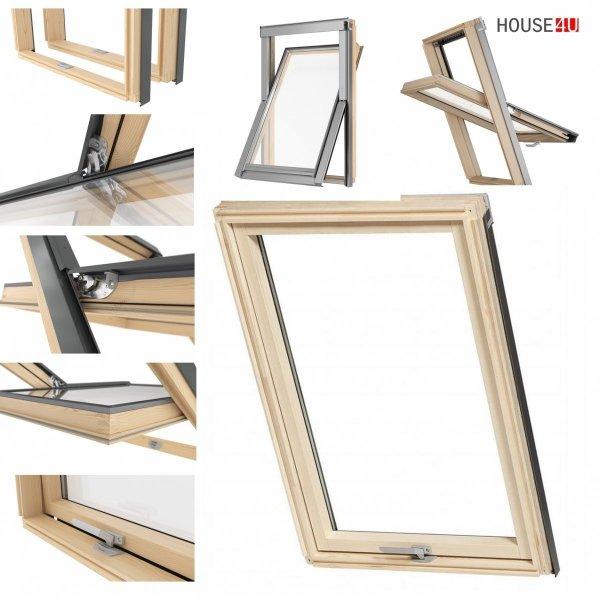 Dachfenster RoofLITE® SLIME PINE DPY B900 2-Fach Holz-Profile Schwingfenster aus Holz Uw=1,3 VKR-Gruppe (VELUX, Altaterra)