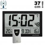 Zegar elektroniczny TFA 60.4510 ścienny biurowy z czujnikiem bezprzewodowym temperatury sterowany radiowo duży 37 cm