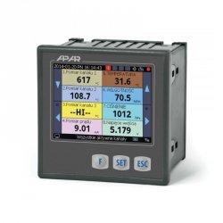 Rejestrator danych uniwersalny wielokanałowy temperatury i sygnałów analogowych APAR AR207 ethernet wyświetlacz LCD tablicowy 96x96 mm